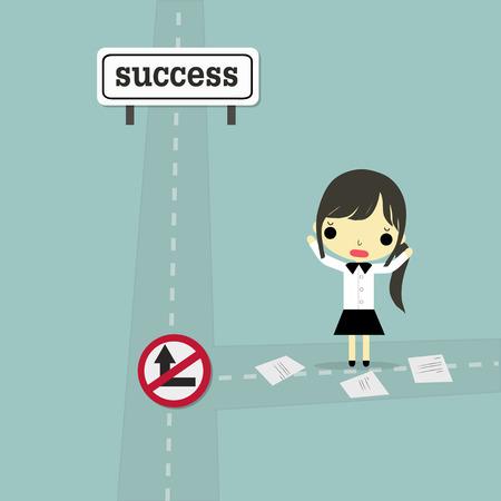 ショックの感情と実業家は、道路、一時停止の標識ブロック方法成功で立っています。