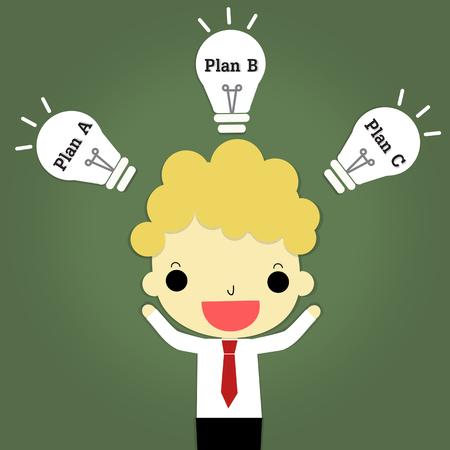 ビジネス wolrd でリスクを避けるためのいくつかのプランを考えてのアイデアを持っているビジネスマン。
