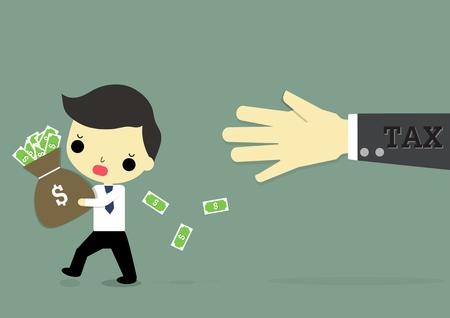 ビジネスマンを実行してお金を持つ人、税手彼に従ってください。