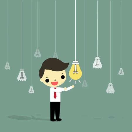 ビジネスマンの周りのアイデアの多くの壊れた電球がある 1 つは、最高のアイデア。  イラスト・ベクター素材