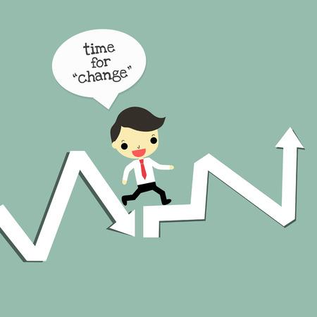 ビジネスマンは低速からトップ部分を変更します。