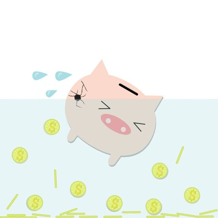 cracking: piggy bank in water is cracking around with many coin. Illustration