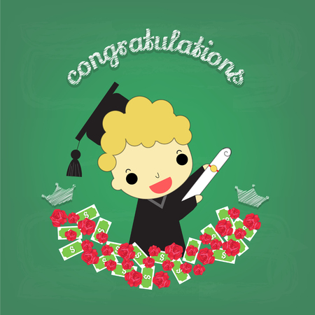 who: graduate man around with roses and money who have  congratulations  front of chalkboard. Illustration