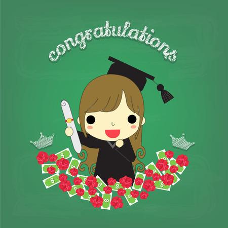 """Graduado de la mujer alrededor de rosas y el dinero que tienen """"felicitaciones"""" delante de la pizarra. Foto de archivo - 64712817"""