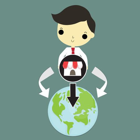 franchises: businessman carry main franchise shop on his hand that wijll expand around the world. Illustration