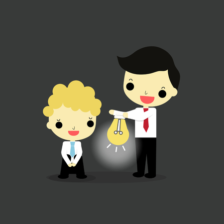 businessman fail in his work and businessman who want to help. Illustration