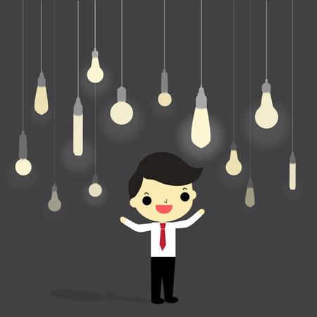 周りが灰色の背景上のアイデアの電球を持ったビジネスマン