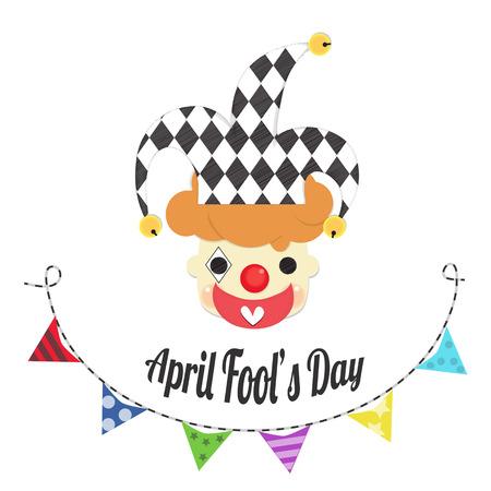 可愛くて元気なジョーカーは、エイプリルフールの日にカラフルなバナーで帽子を着用します。  イラスト・ベクター素材