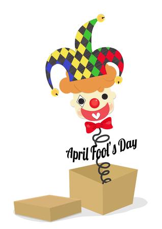 可愛くて元気なジョーカーは、エイプリルフールの日のバナーを保持しているカラフルな帽子を着用します。