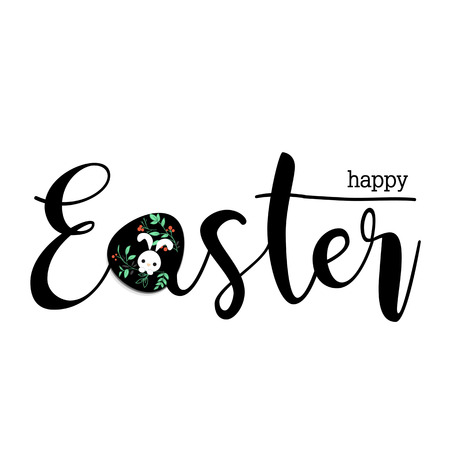 幸せなイースター テキストと卵は、花、葉とそれをかわいいウサギをペイントします。