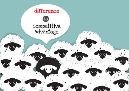 平均差白羊の周り 1 つの黒い羊は競争力のある利点です。