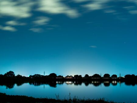 nightview: Lake of silence Stock Photo