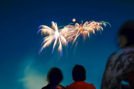 hanabi: Couple Looking at the fireworks display
