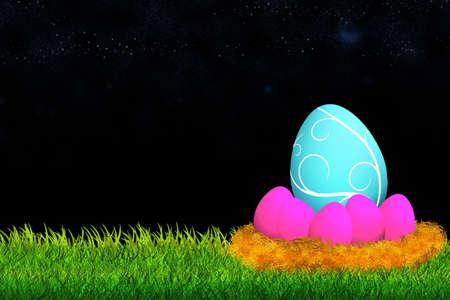 easter eggs in nest over dark background  Stock Photo - 13782390