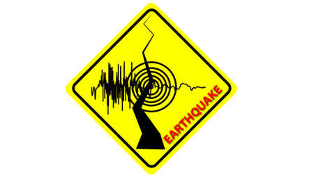 warning graphic: earthquake symbol on road sign