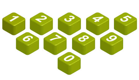captivating: 10 figures on green cubic  You can arrange them to form any words you like  Stock Photo