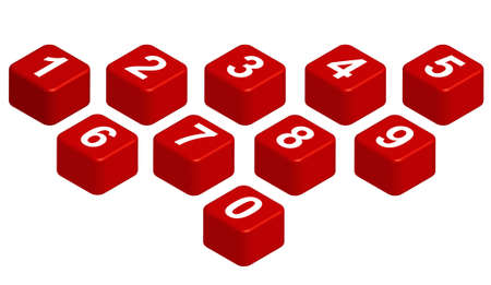 10 figures on red cubic  You can arrange them to form any words you like
