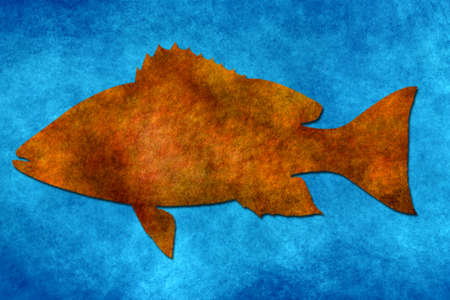 grunge brown fish on blue paper  photo
