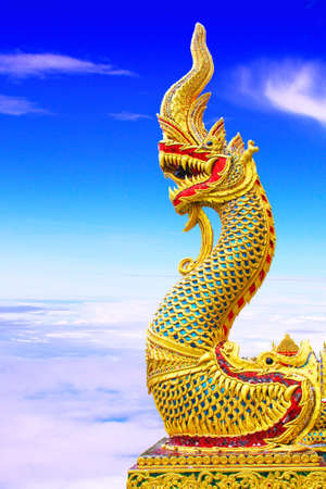 naga china: Thai dragon or king of Naga statue