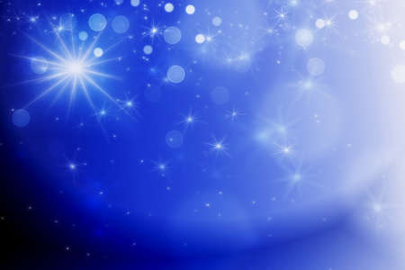 dark blue abstract background with bokeh lights and stars Stock Photo