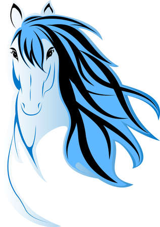 Draw a picture of blue horse head Vector