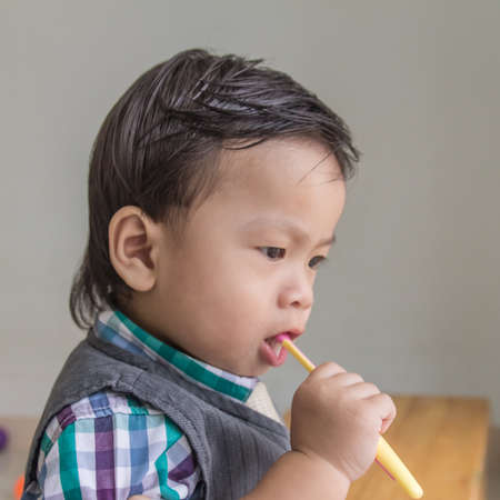 Children are practicing brushing photo