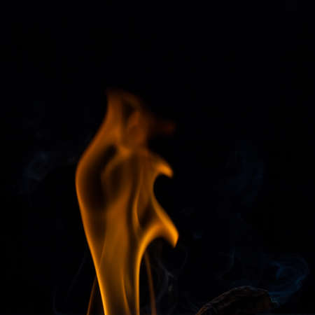 fire flames in black, fire flames and smoke. Stock Photo