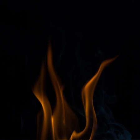fire flames in black, fire flames and smoke. 版權商用圖片