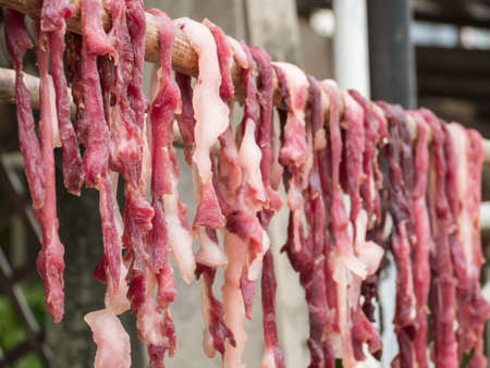 Dried meat on bamboo and blurred fly in meat,