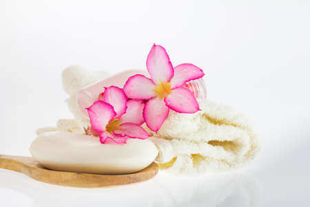 Spa products on light wooden background, spa products on white background, total spa products, soap in spa on white, Stock Photo