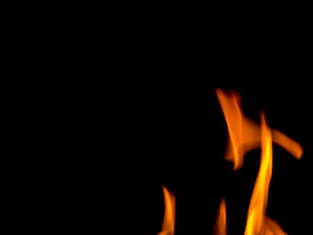 Beautiful movement fire flames on black background, Stock Photo