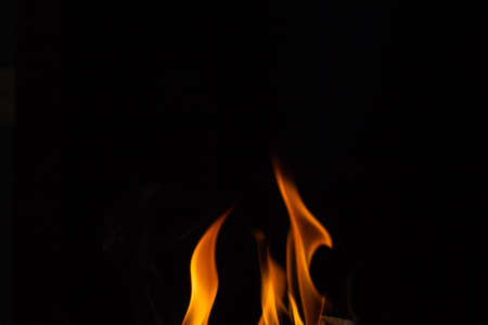 Beautiful fire flames, isolated on black background, 2 fire flames,