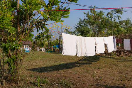 Wash clothes on a rope with clothespins, Wet clothes drying on the tree,