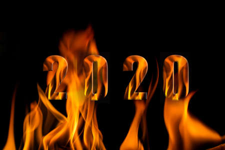 Alphabet 2020 in fire on black, Beautiful fire flames, isolated on black background,