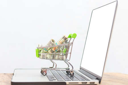 Bank money in cart on the notebook with on white background, Stockfoto