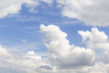 White cumulus clouds in blue sky at daytime. Natural background photo texture