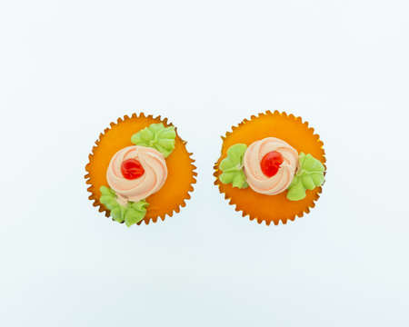 Top view image cupcakes on white background,