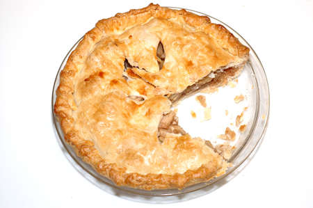 apple pie: A partially eaten home made apple pie