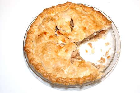 apple pie: Parcialmente comido un pastel de manzana hecho en casa