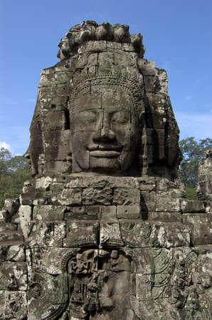 thom: Angkor Thom Temple Statue in Cambodia Stock Photo