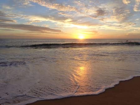 quietude: Sunset on the beach Stock Photo