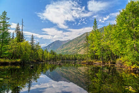sky, mountains and lake