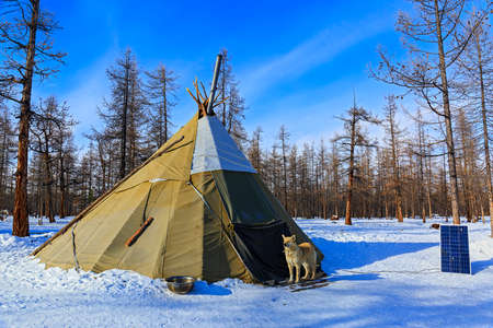 Traditional Tsaatan chum in Mongolia
