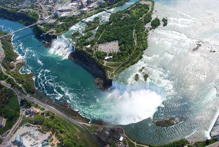 Niagara Falls both in New York, USA and Horse Shoe Falls in Toronto, Canada Stock Photo