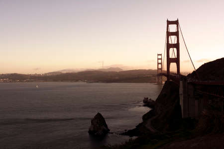 Over look view of Golden Gate Bridge before sunset in San Francisco, California, USA