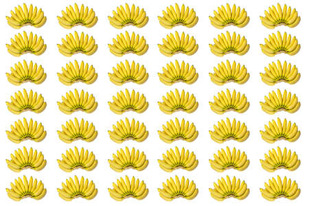 brunches: Bright Fresh Yellow Baby Bananas Brunches Pattern Isolated on White Background