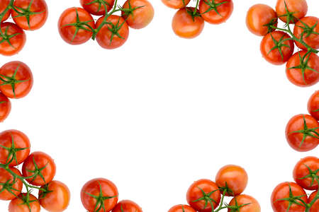 four corners: Red Fresh Ripe Stem Tomatoes  Frame Isolated on White Fabric Background