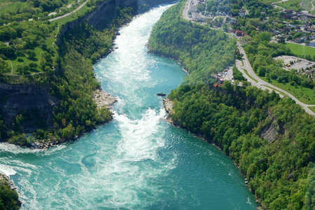 niagara river: Above view of Niagara River from the sky