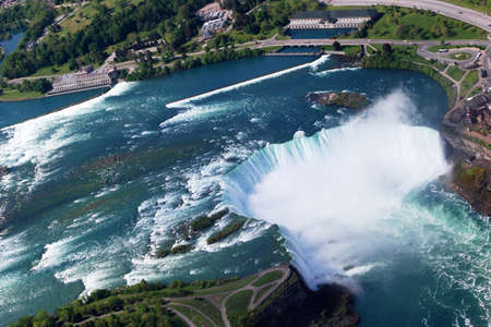 Niagara Horseshoe Falls above view from Helicopter Stock Photo