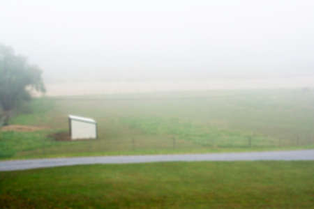 horse stable: Blur photo of mini horse stable in a foggy morning mist Stock Photo